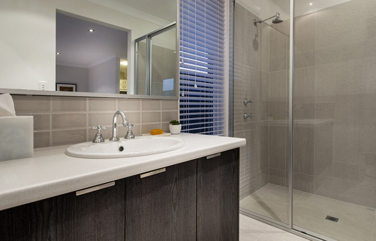 Bathroom with a shower in a turnkey home