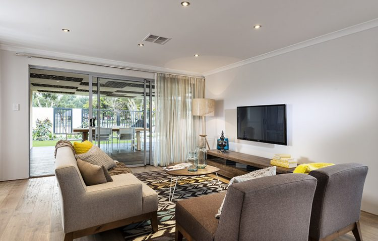 Lounge room in a display home in Perth